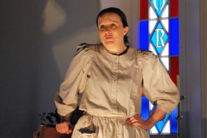 "Lisa Mason as Elizabeth Barber in the Yackandandah Theatre Company production ""From Here to There"""